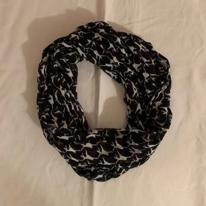 Charming Charlie black scarf with white pattern